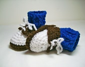 Baby Booties Crochet Saddle Shoes Brown and White  with Colored  Socks