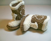 CLEARANCE Baby  Booties Cowboy  Medium Brown and Natural Crochet Western Cowboy Boots