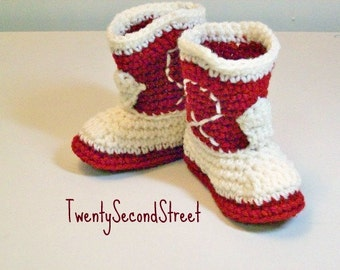 Crochet Baby  Booties Western  Cowboy Boots  Burgundy and Natural