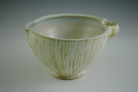 Spouted Mixing Bowl with Stripes, Tan and Pale Green Stripes