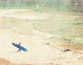 beach photography, surfer photo, beach cottage decor, blue surfboard ocean waves margin walker, mint green art, summer vacation, for him