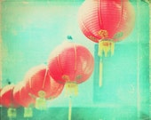 red paper lanterns photograph, Chinatown Los Angeles asian decor cranberry red chinese lanterns mint green, travel photography 30x24