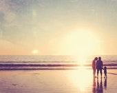 photography, Santa Monica photograph, winter sunset beach home decor, Family, vacation California memories summer fun, gold, love, LA