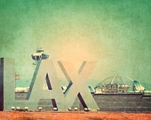 LAX photograph, Los Angeles photography, summer travel, California dreaming, airplanes, West Coast art, blue green dreamy urban decor