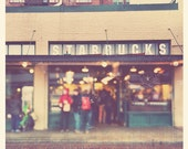 sale 25% off photography, Seattle Starbucks Pike Place Market, coffee lovers gift, photo of first Starbucks coffee shop, A Star is Born, dow