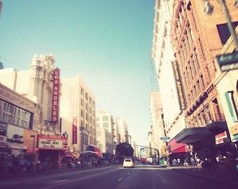 travel photography, downtown Los Angeles photograph, city streetscape, LA theatre architecture Broadway, retro blue, urban loft decor