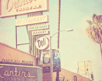 Canters Deli photograph, Los Angeles photography, LA food, travel print, pastel blue decor, California gift, Hollywood, kitchen print