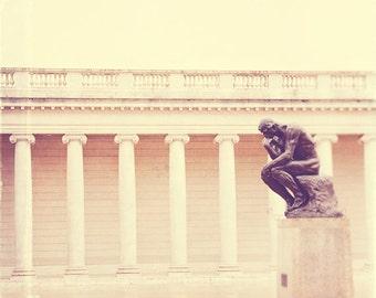 San Francisco photography, Rodin photograph, the Thinker, San Francisco print, cream white decor, California wall art, travel photo