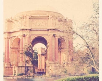 photography, San Francisco photo, travel photograph, Palace of Fine Arts, roman greek architecture rotunda, California, peach apricot pastel