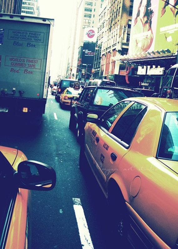 New York City photography, cabride, blue urban yellow taxi cabs NYC manhattan street traffic, big apple, fine art print 5x7