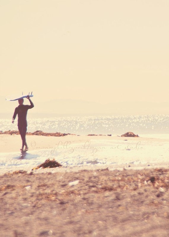 surfer photography, photo of surfer with surfboard, beach photography dreamy California seaside, caramel brown, neutral, dads, for him