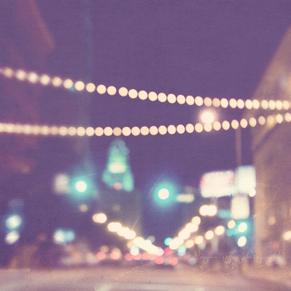 DTLA at night photo, Los Angeles photography, Sparkle No.2., bokeh photograph, downtown LA streetscape, plum wall art, twinkle lights, gold