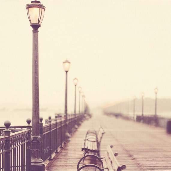San Francisco photography, Meet me at the Pier no. 2, romantic rainy winter day iron lamppost, bokeh light, neutral tones CA print