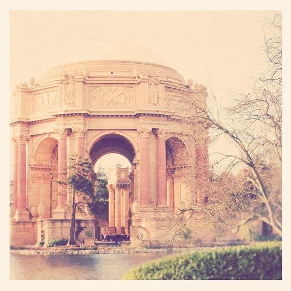 photography, San Francisco photo, travel photograph, Palace of Fine Arts, roman greek architecture rotunda, California, peach apricot pastel