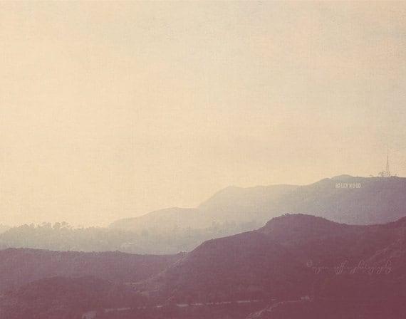 travel photography, LA decor, Hollywood sign, the hills, Los Angeles at Dusk photo, retro vintage blue purple light, California travel