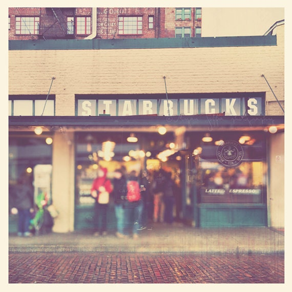 photography, Seattle Starbucks Pike Place Market, coffee lovers gift, photo of first Starbucks coffee shop, A Star is Born, downtown, travel