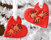 Rustic Christmas Ornaments Rudolph Reindeer Set of 2 Great for Party Favors and Gifts. Handmade Red Glitter Heart Polymer Clay