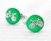 Bicycle Cuff Links for Him. Handmade Green Spring, Summer Wedding Gifts for Groom, Groomsmen, Father of Bride , Dad, Brothers, Father's Day