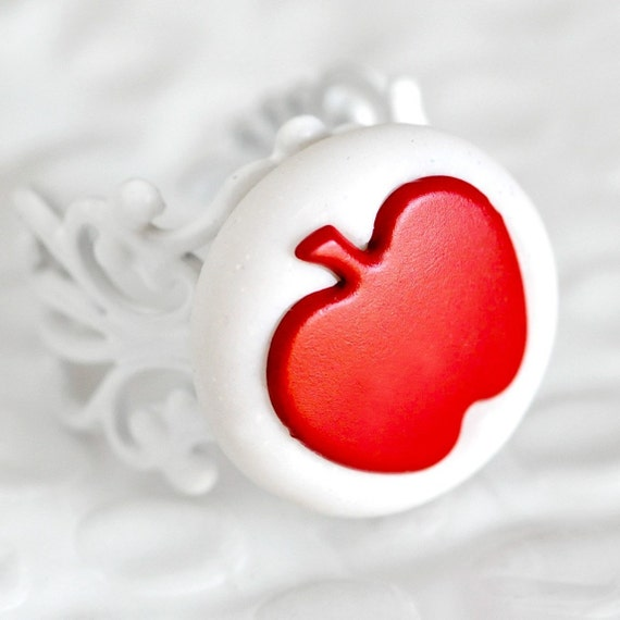 Red Apple Ring. Winter Jewelry. Teacher's Gift in Snow White Glittery Polymer Clay Fashion Jewelry for Her