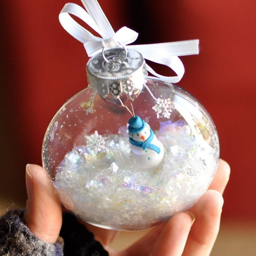 Snowman snow globe ornament christmas holiday by creashines