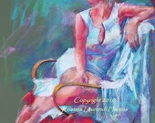 Pastel Drawing of a Beautiful Woman in the Garden - Large Fine Art Print