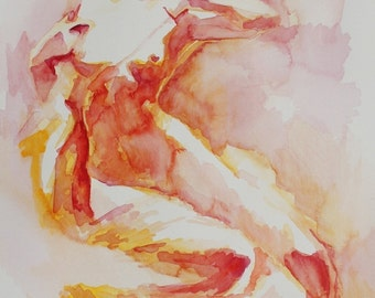 Large Print of Watercolor Figure Art in Oranges, Reds and Yellows - Citrus Colored Nude - Dawn