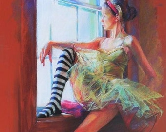 Large Fine Art Print of a Pastel Drawing - Ballerina in Striped Socks Sitting at the Window