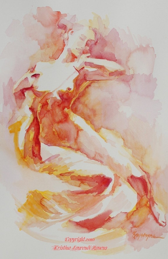 Art Print of Figure Painting in Oranges, Reds and Yellows - Citrus Colors - Dawn