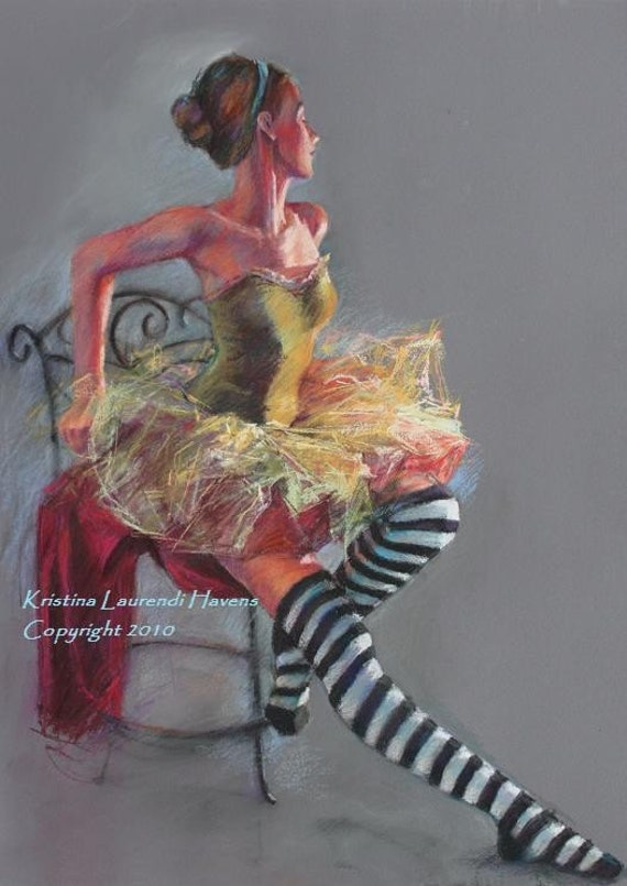 Ballet Dancer with Striped Socks - Pastel Figure Drawing Small Archival Print