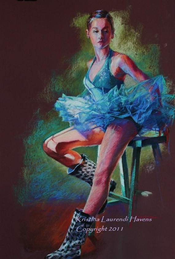 "Original Pastel Drawing of a Ballerina - ""Tutu and Boots"""