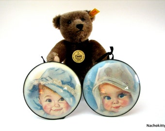1940s Bubble Glass Baby Illustrations Framed, Infant Nursery Decor