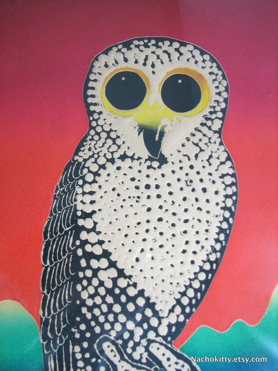 Mod 1960s Owl Etching by Motoi Oi, Numbered & Signed