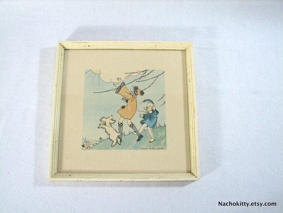 1930s Spring Childs Illustration by Nora Schnitzler Framed