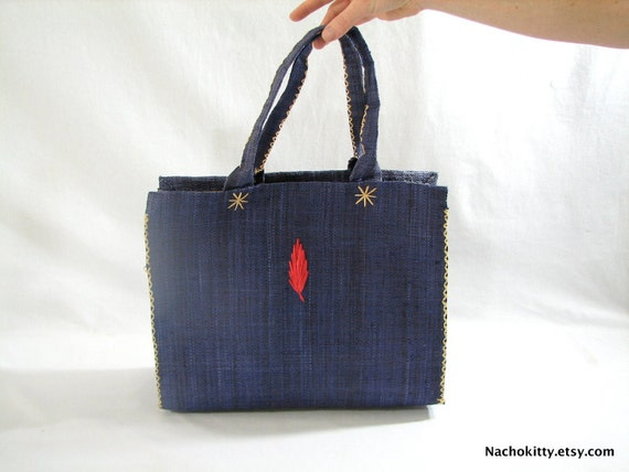 1960s Shoulder Bag, Blue & Red Leaf Design