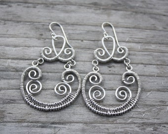 Wire Wrapped Dangling Earrings with Platinum Wires