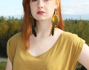 Yellow and Black Polka Dot Feather Earrings with Platinum Ear Wires
