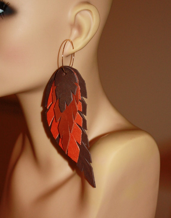 Leather Feather Earrings in Warm Autumn Tones with Gold Hoops