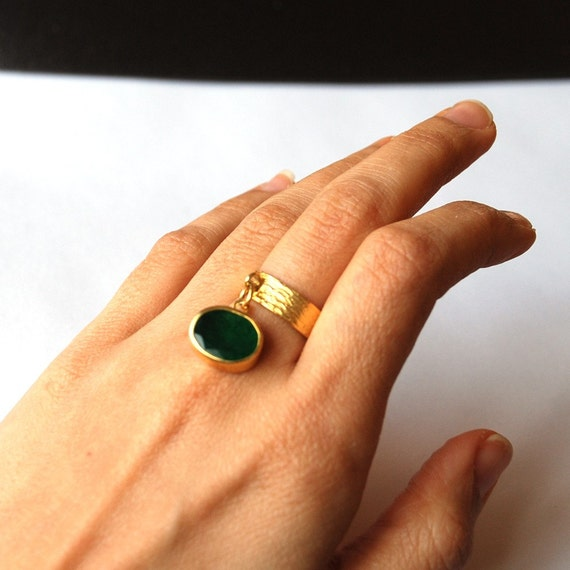 Gold Coated Silver Ring With Emerald Charm Stones (made with order)