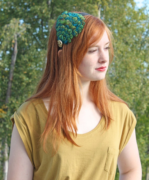Peacock Plume Headband in Brilliant Teal, Blue, Green and Gold