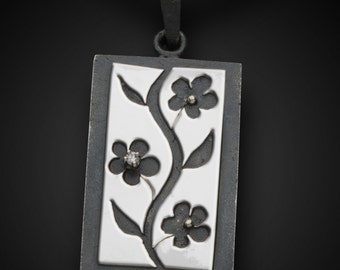 Sumi-E Pendant - 14K White Gold - Sterling Silver -.02ct White Diamond in a Prong Setting - Asian Art Inspired Womens Pendant