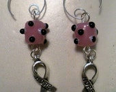 Breast cancer awareness earrings of bumpy beads, charms