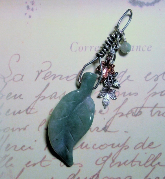 Amazonite leaf pendant with leaf charms