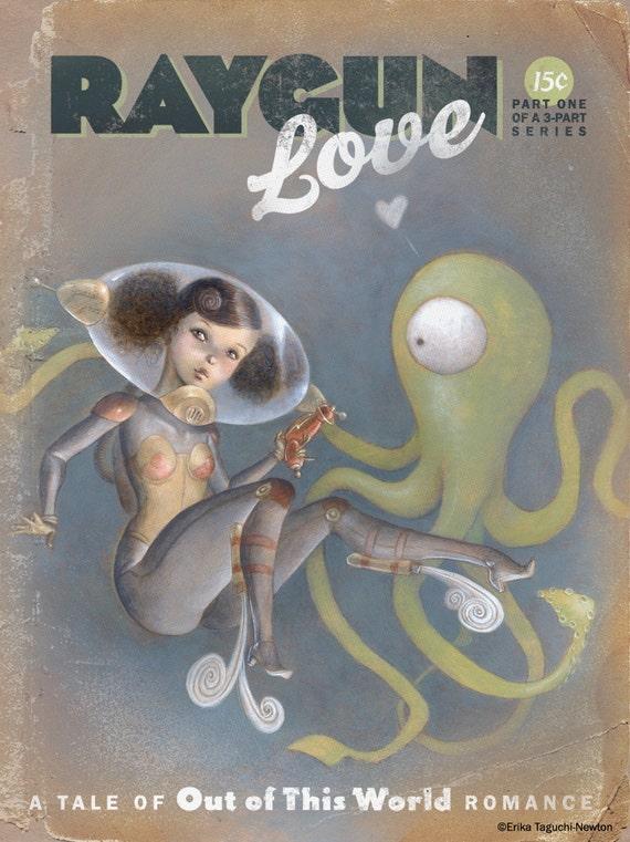 "Space Pinup Girl Art, Astronaut Painting, Scifi Alien Tentacle Fine Art Print - ""Raygun Love"""
