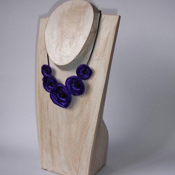 Purple Fabric Poppy Necklace