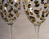 leopard print wine glasses birthday or wedding, bridesmaids, bachelorette or girls night out