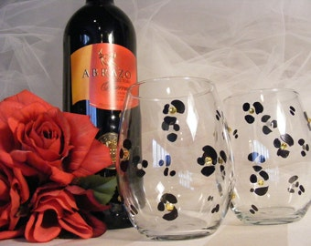 leopard bling wine glasses with Swarovski crystals -pair of stemless tumblers