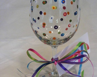 painted wine glass with swirls and polka dots - can be personalized - perfect for birthday, bridesmaids or girls night out