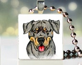 Scrabble tile pendant charm of Rottweiler Dogicature