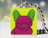 Scrabble tile pendant charm of Andy Warhol style French Bulldog