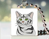 Scrabble tile pendant charm of Silver Patched Tabby